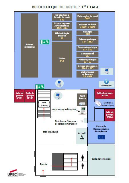 Plan 1er étage de la Bibliothèque de Droit de l'UPEC