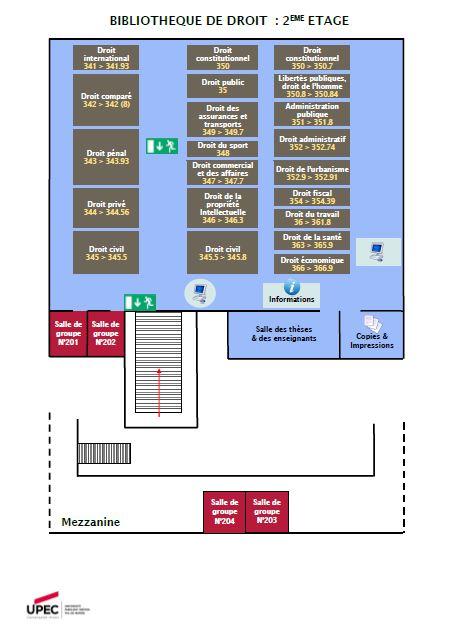 Plan du 2e étage de la bibliothèque de Droit de l'UPEC