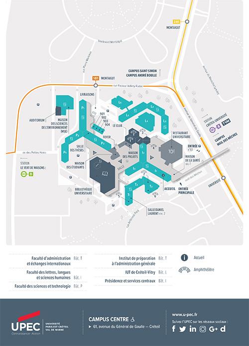 Carte du Campus Centre de Créteil