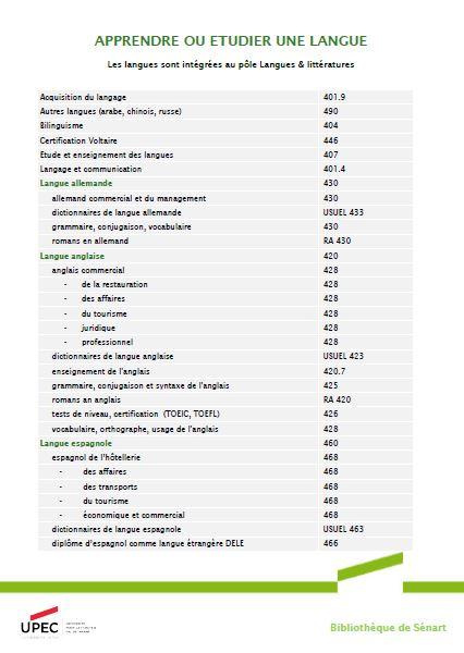 Index des sujets de Langues - BU Sénart