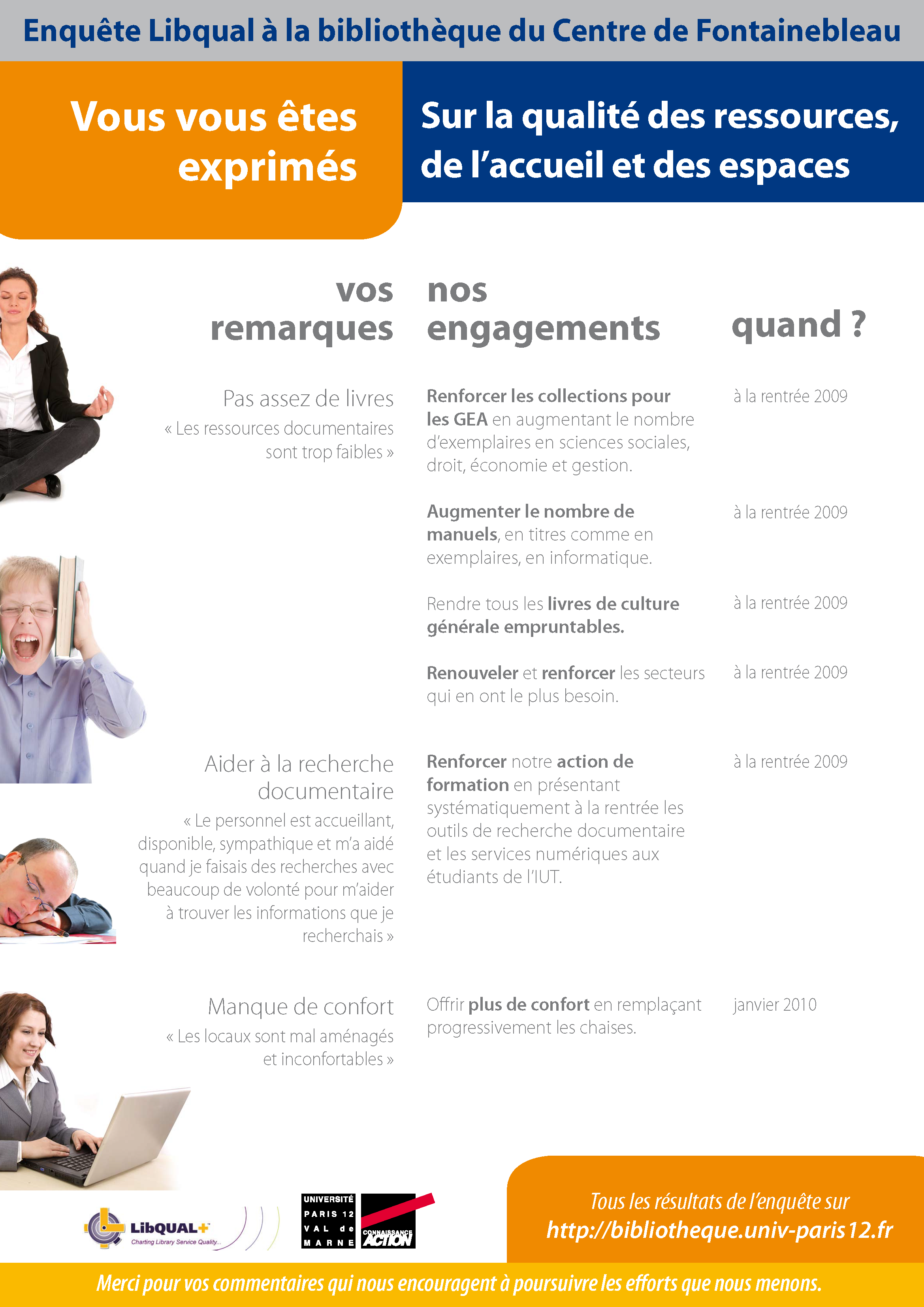 Enquête Libqual : engagements Fontainebleau