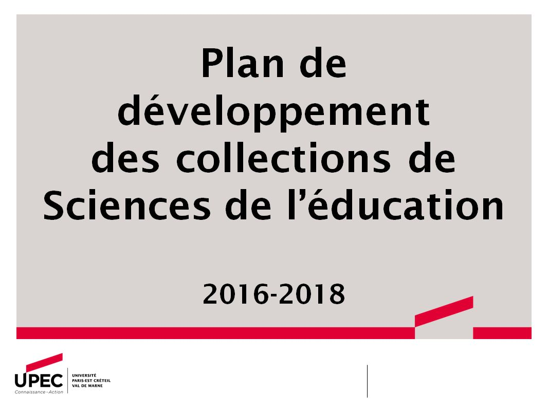 PDC Sciences de l'éducation 2016-2018