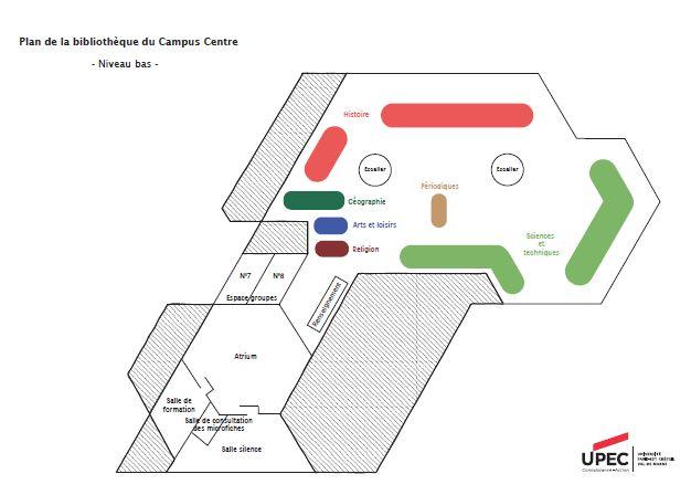 Plan de la BU du Campus Centre, niveau bas