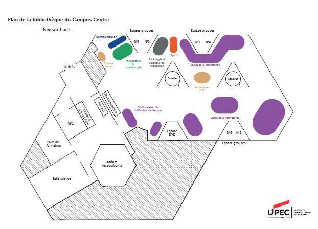 Plan de la BU du Campus Centre, niveau haut