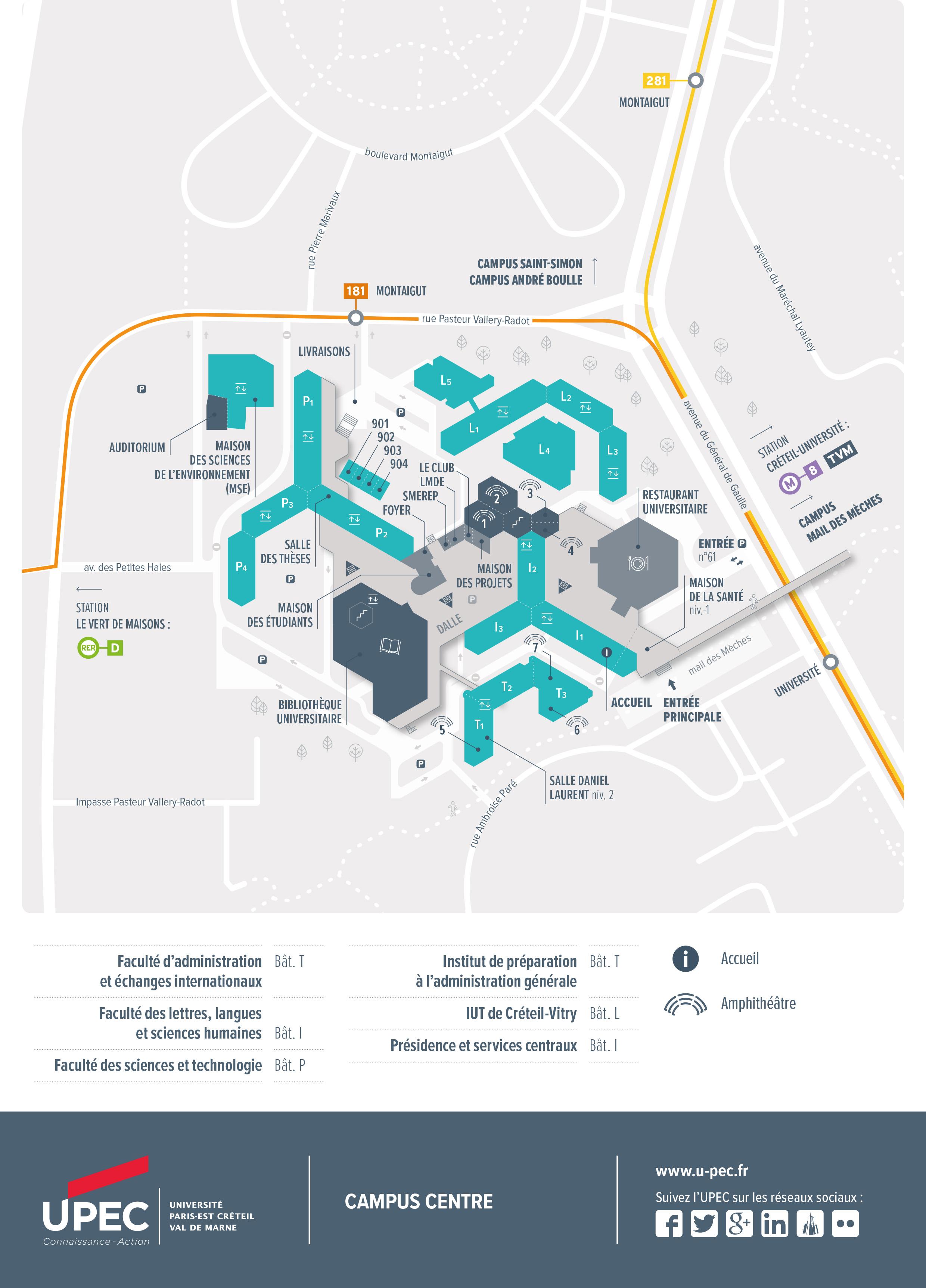 Plan du Campus Centre de Créteil - Format A4