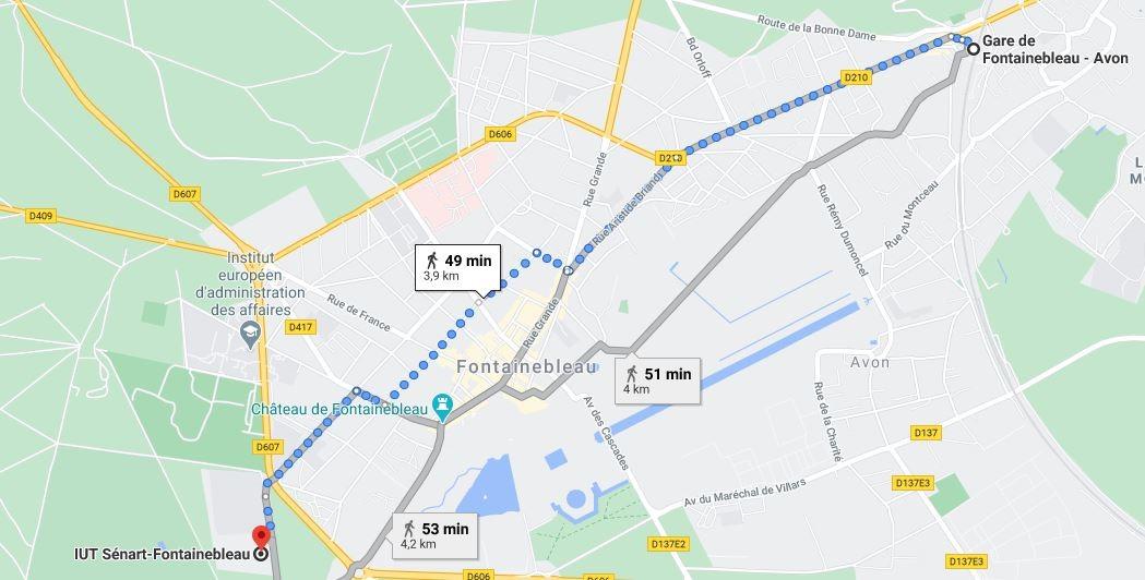 Trajet de la gare de Fontainebleau à la bibliothèque